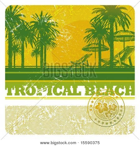 Abstract vector tropical beach with palms, chair and umbrella