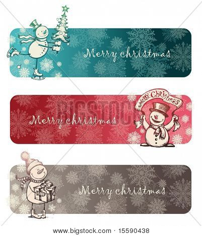 Three Christmas banners with hand drawn snowmans