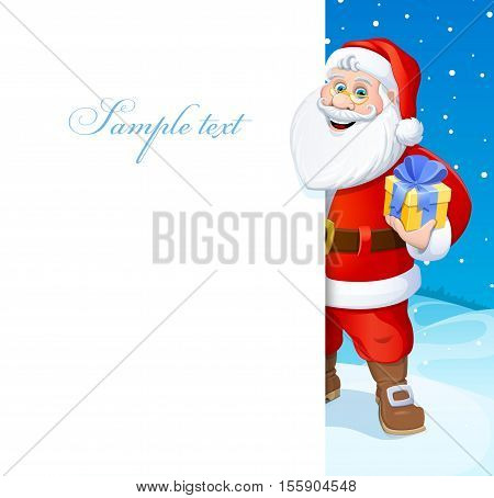 Christmas.  Happy New Year. Santa Claus. Vector illustration. Poster.