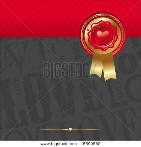 Vector Valentines card with sealing wax stamp, golden trim & ribbons