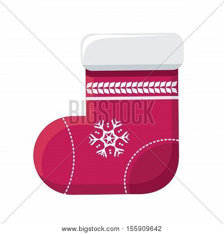 Sock for christmas stocking vector. Flat design. Illustration of big warm red sock with snowflake ornament. Christmas and New Year celebrating. Winter holidays symbol. Isolated on white background