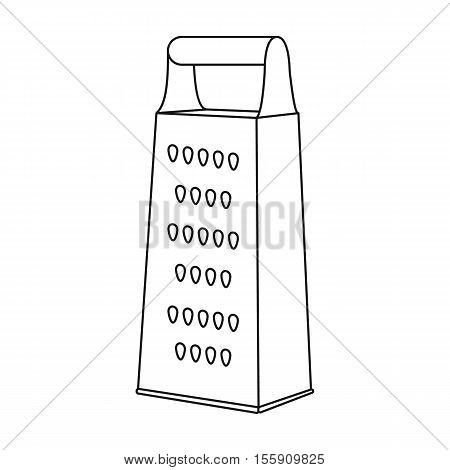 Grater icon in outline style isolated on white background. Kitchen symbol vector illustration.