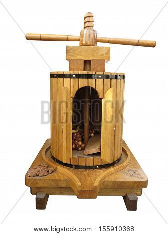 Decorative Wooden Wine Old Press Isolated On White