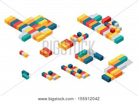 Stack of cargo or intermodal containers. Cargo freight ISO shipping sea or ocean container, van or conex box. Large standardized shipping containers, designed for intermodal freight transport. Vector