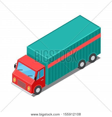 Delivery vehicle isolated. Truck specialized to deliver different types of goods. Semi-trailer, box trailers. Armored cars, dump truck. Used deliver cargo. Advanced delivery van. Vector