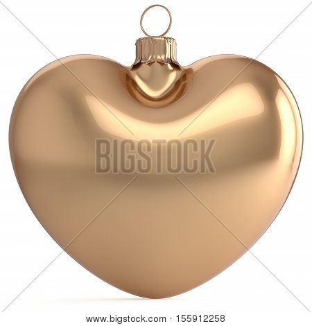 Christmas ball New Years Eve bauble gold heart shape adornment decoration blank. Happy Merry Xmas traditional wintertime holidays ornament love romantic greeting card festive design element. 3d render