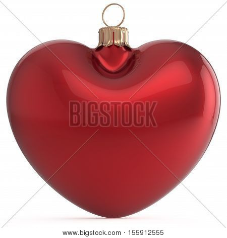 Christmas ball New Years Eve bauble red heart shape adornment decoration blank. Happy Merry Xmas traditional wintertime holidays ornament love romantic greeting card festive design element. 3d render