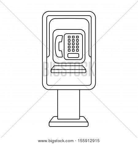 Payphone icon in outline style isolated on white background. Park symbol vector illustration.