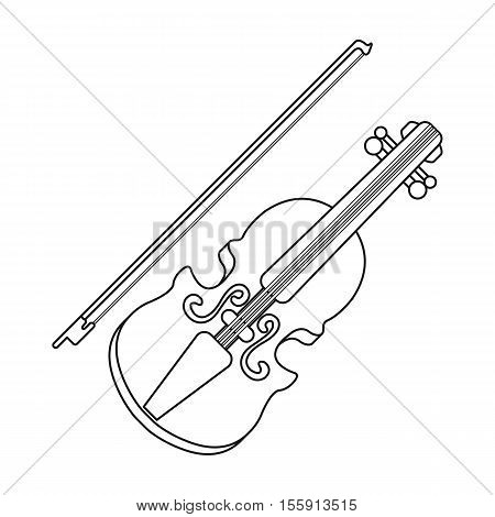 Violin icon in outline style isolated on white background. Musical instruments symbol vector illustration