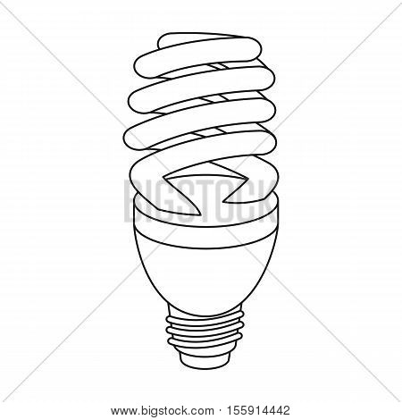 Fluorescent lightbulb icon in outline style isolated on white background. Light source symbol vector illustration