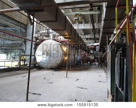 Steam Turbine, Machinery, Pipes, Tubes At Power Plant