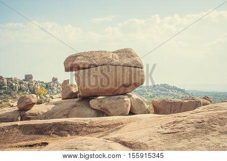 Big stones and blue sky at Hampi