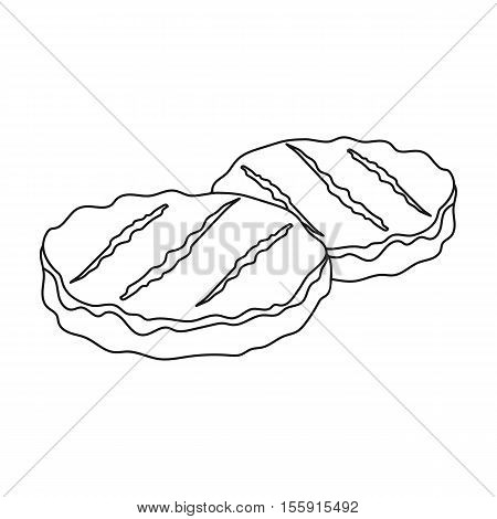 Grilled patties icon in outline style isolated on white background. Meats symbol vector illustration