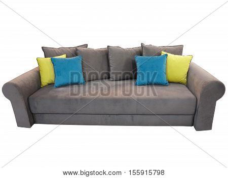 Grey Sofa Furniture With Colored Cushions Isolated On White