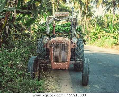 Old red tractor with green banana at Hampi