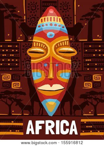 Colorful tribal ethnic mask template on african background with animals isolated vector illustration