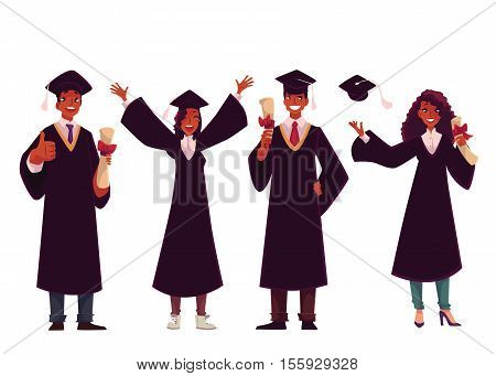Set of black students in traditional caps and gowns celebrating successful graduation, cartoon style illustration isolated on white background. African American students graduating from University