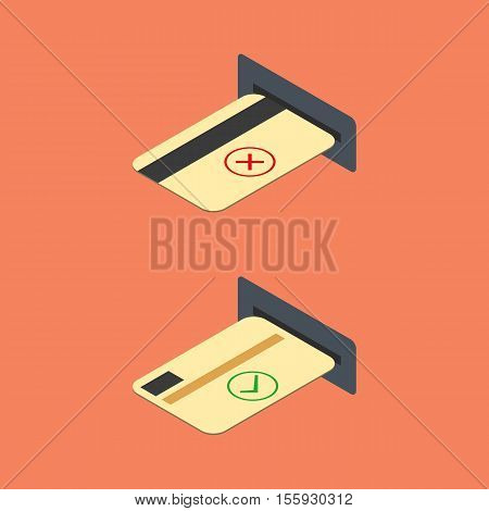 How to insert a credit card into the ATM. Financial icons isometric style vector illustration.