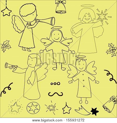 Set of funny Christmas angels and stars
