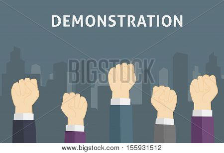 Illustration of many people in demonstration with Fist Hand
