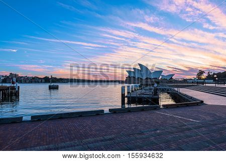 Sunrise on Sydney Opera House view on  NOV 11, 2016 in Sydney, Australia. The Sydney Opera House is a famous arts center. It was designed by Danish architect Jorn Utzon, finally opening in 1973.