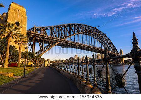 Sydney Harbour Bridge Sydney Australia.NOV 11,2016 The Sydney Harbour Bridge is a steel through arch bridge across Sydney Harbour between the Sydney central business district  and the North Shore.