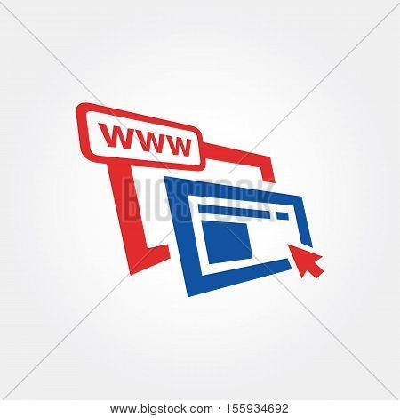 On Line Web Development Stacked Browser Symbol. World Wide Web concept