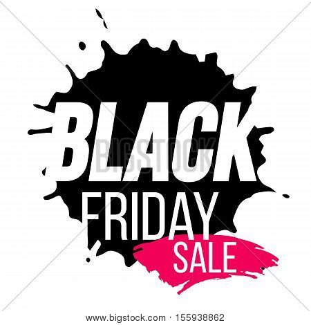 Black Friday sale banner with paint splash. Vector stock illustration.