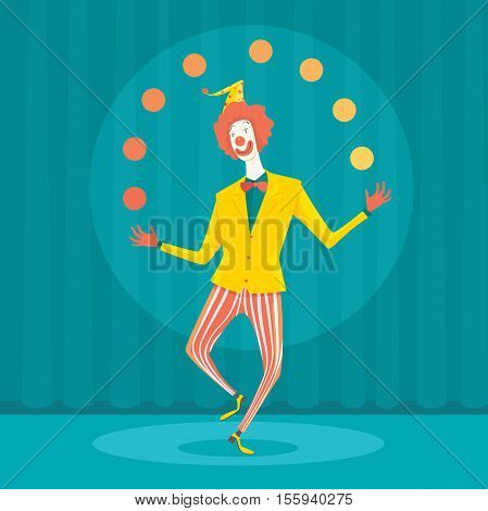 Funny clown juggling with colorful balls. Creative vector cartoon illustration on make money and wealth management concept.