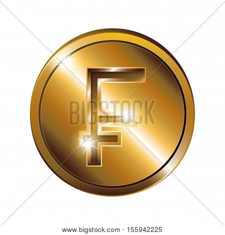 silhouette with coin gold and currency symbol frank french and belgian vector illustration