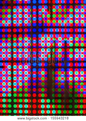 Photo technique image/ Abstract colorful blur de focused of RGB led screen background, Digital art concept