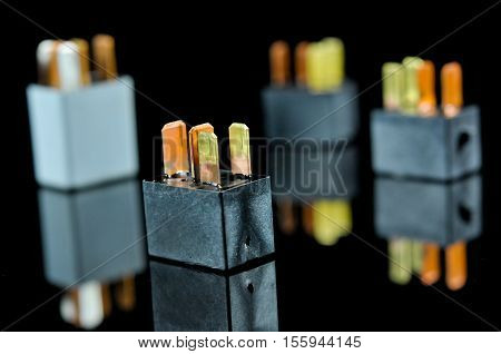 Auto Electronic Collection On Black Background Car - Electromagnetic relay switch