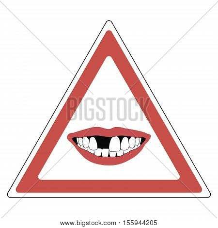 road sign warning of toothless people, red triangle with a toothless smile - the absence of a Central incisor tooth, vector