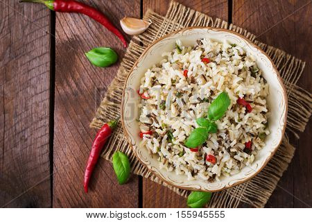 Mixed Boiled Rice With Chilli And Basil. Dietary Menu. Top View