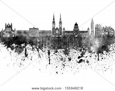 Belfast Skyline In Black Watercolor On White Background