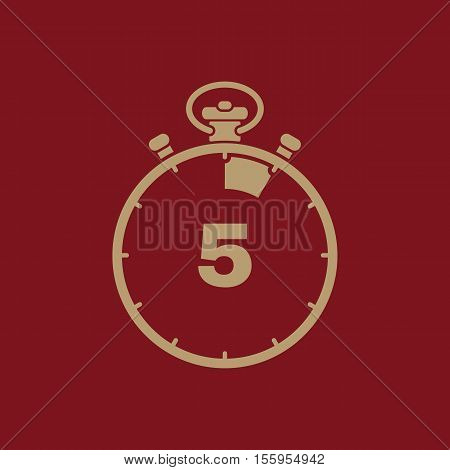 The 5 seconds, minutes stopwatch icon. Clock and watch, timer, countdown, stopwatch symbol. UI. Web. Logo Sign Flat design App Stock vector