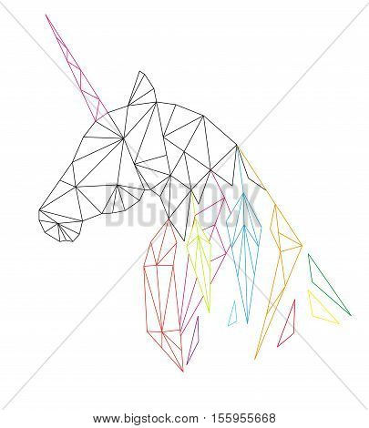 Unicorn's head in the polygonal style. Isolated on white background. Vector illustration.