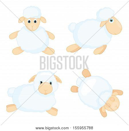 Sheep in cartoon style isolated on white background. Sheep in different poses. Vector illustration.