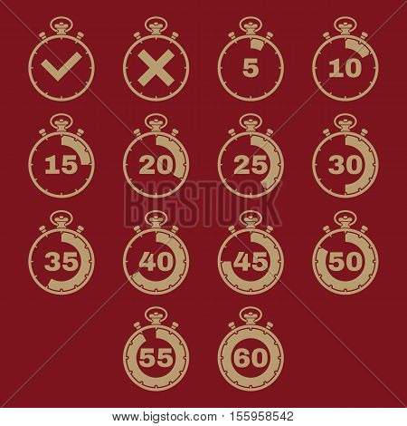 The stopwatch icon, set of 14 icons. Clock and watch, timer, countdown, stopwatch symbol. UI. Web. Logo Sign Flat design App Stock vector