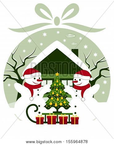 vector christmas ball with pair of snowmen and sledge with christmas tree and gifts in snowy landscape