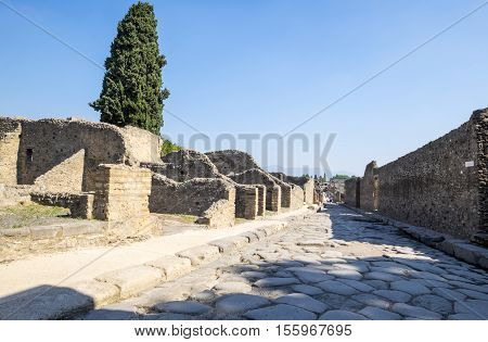 Quiet Street of Ancient Pompeii in Italy