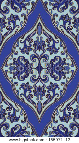 Oriental blue ornament. Template for carpet textile wallpaper and any surface. Seamless colorful pattern of gold contour on a indigo background.