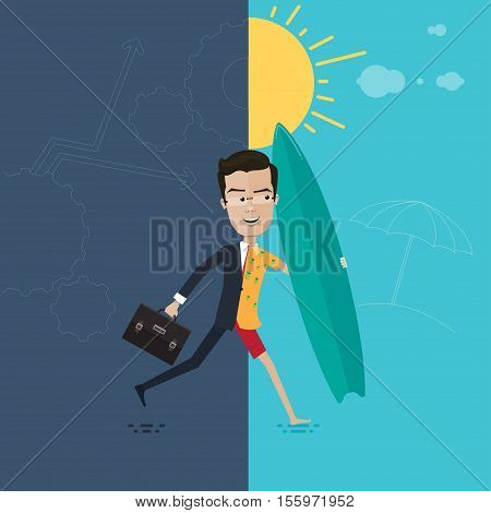 Businessman or manager in a hurry to rest in the hands of briefcase and a surfboard Vector illustration in flat cartoon style isolated from the background EPS 10