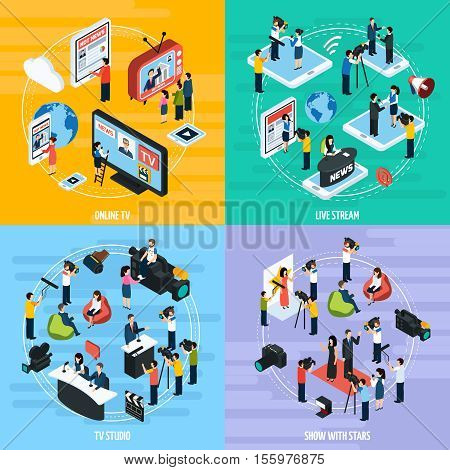 Media network isometric template with reportes journalists newsman and correspondents isolated vector illustration