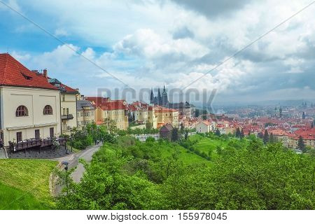 View of Prague Castle with St Vitus Cathedral from Petrin Hill