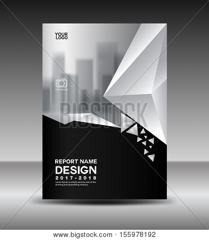 Cover design Annual report vector illustration, business brochure flyer template, book cover, Black and white cover advertisement template, magazine cover
