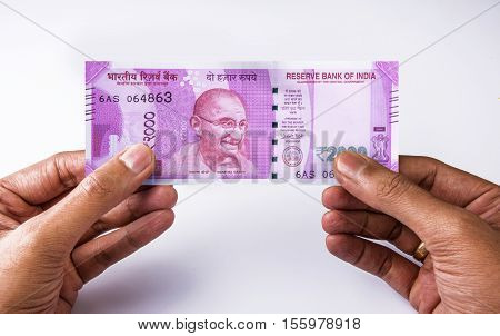 Indian new currency note of rupees 2000, isolated on white background, closeup, indian currency note, indian paper currency, back side