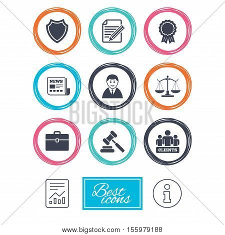 Lawyer, scales of justice icons. Clients, auction hammer and law judge symbols. Newspaper, award and agreement document signs. Report document, information icons. Vector
