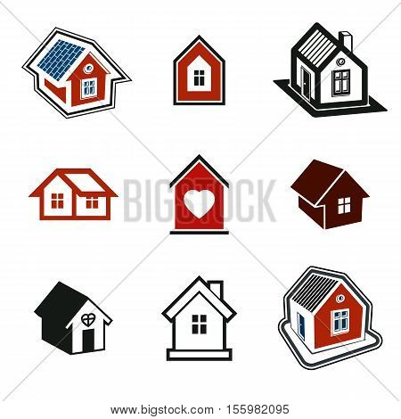 Houses abstract icons. Set of simple buildings architecture theme vector graphic symbol.