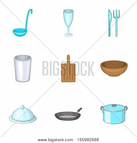 Dishes icons set. Cartoon illustration of 9 dishes vector icons for web
